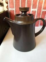 Noritake Primastone Tea Coffee Pot Dark Brown Japan Mid Century Used Retro - $27.37