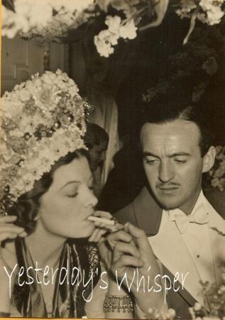 1930s Gala Event Photo Smoking Myrna Loy David Nivens K358