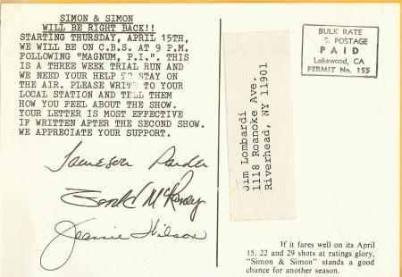 Simon & Simon Plea for Ratings Postcard Parker McRaney