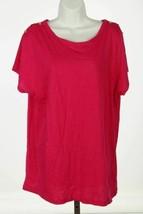 Ralph Lauren Shirt Top Sz 1X Pink Crew Neck Shoulder Buttons Cap Sleeve - $29.13