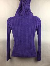 Girl's Justice Purple Cable Knit Hooded Pullover Top Size 14 image 4