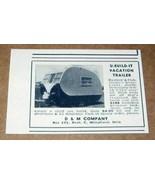 1958 Print Ad U-Build-It Vacation Travel Trailers D&M Company Wheatland,OK - $7.97