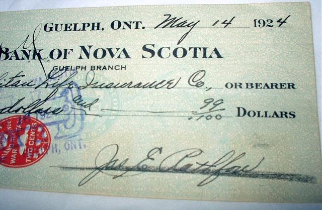 1924 CANADA BANK NOTE-BANK OF NOVA SCOTIA-WAR TAX REVENUE ST