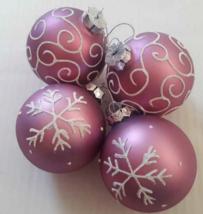 Purple Fancy Mercury Glass Ball Ornament St Nicholas Square Set 4 Lavend... - $4.94