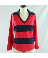 TOMMY HILFIGER Jeans L Blouse Top Red Blue Vintage 3/4 sleeve flag 02 V-... - $23.24