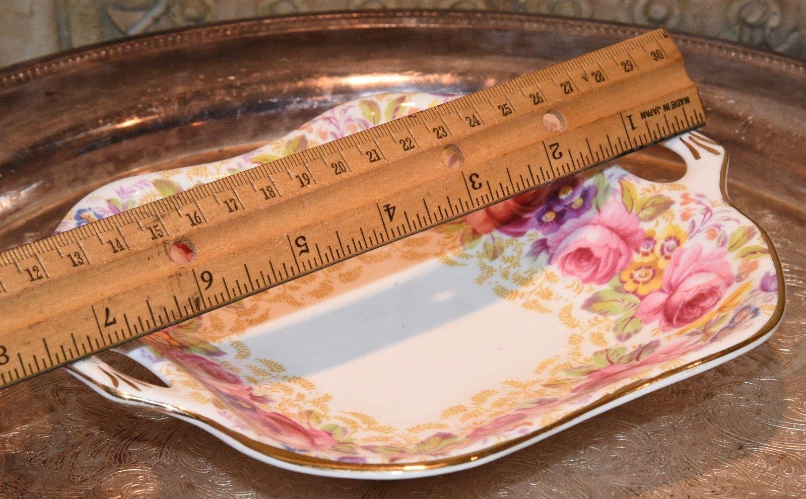 """Royal Albert China Serena Square  Handled Dish  PINK CABBAGE ROSE GOLD GILT 7.5"""""""