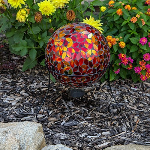 Lily's Home Colorful Mosaic Glass Gazing Ball, Designed with a Stunning Holograp