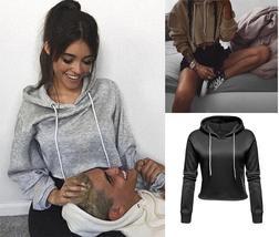 Women Drawstring Hooded Long Sleeve Pullover Fleece Crop Hoodie Sweatshirt Tops