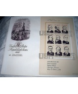 FDC US PRESIDENTIAL SERIES-PART 3,Industry&Immigration,Statu - $28.00