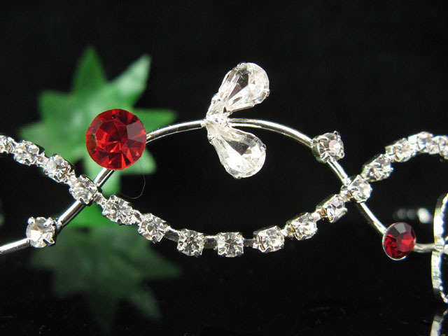 Fancy serpent crystal wedding tiara bridal comb hair accessories bridal veil A6r