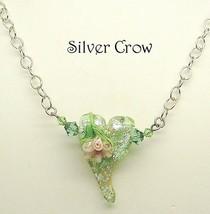 Green & Peach Lamp Work Heart Necklace - $32.99