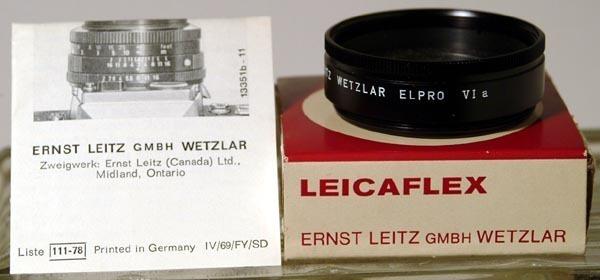 Leica 'Leicaflex' VIa Elpro Close-Up Lens in Box w/Instructions-NOS