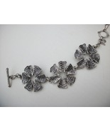Lucky Brand Etched Flowers Toggle Bracelet - Silver Tone - Floral Links - $19.90