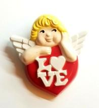 Vintage Avon Angel Cherub Cupid Red Heart Love Plastic Brooch Pin Valentine Pin - $7.80