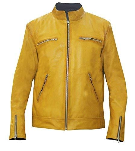 Dirk Gently Holistic Detective Agency Samuel Barnett Yellow Biker Leather Jacket