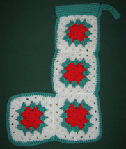 CHRISTMAS STOCKING HAND CROCHETED with GRANNY SQUARES Vintage BRIGHT COLORS - $14.24