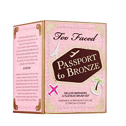 Primary image for Too Faced Passport to Bronze 3 Delux Bronzer & Flatbuki Brush Set.Limited Edi-on