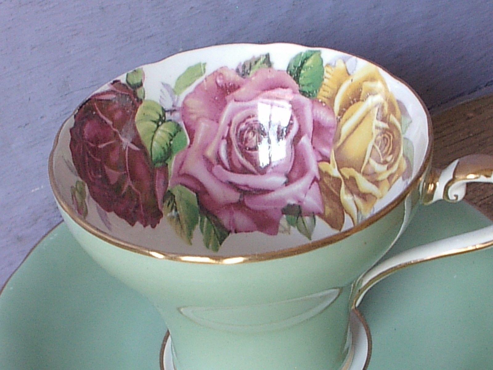 Vintage Aynsley Large pink yellow roses tea cup, Green Bone china teacup