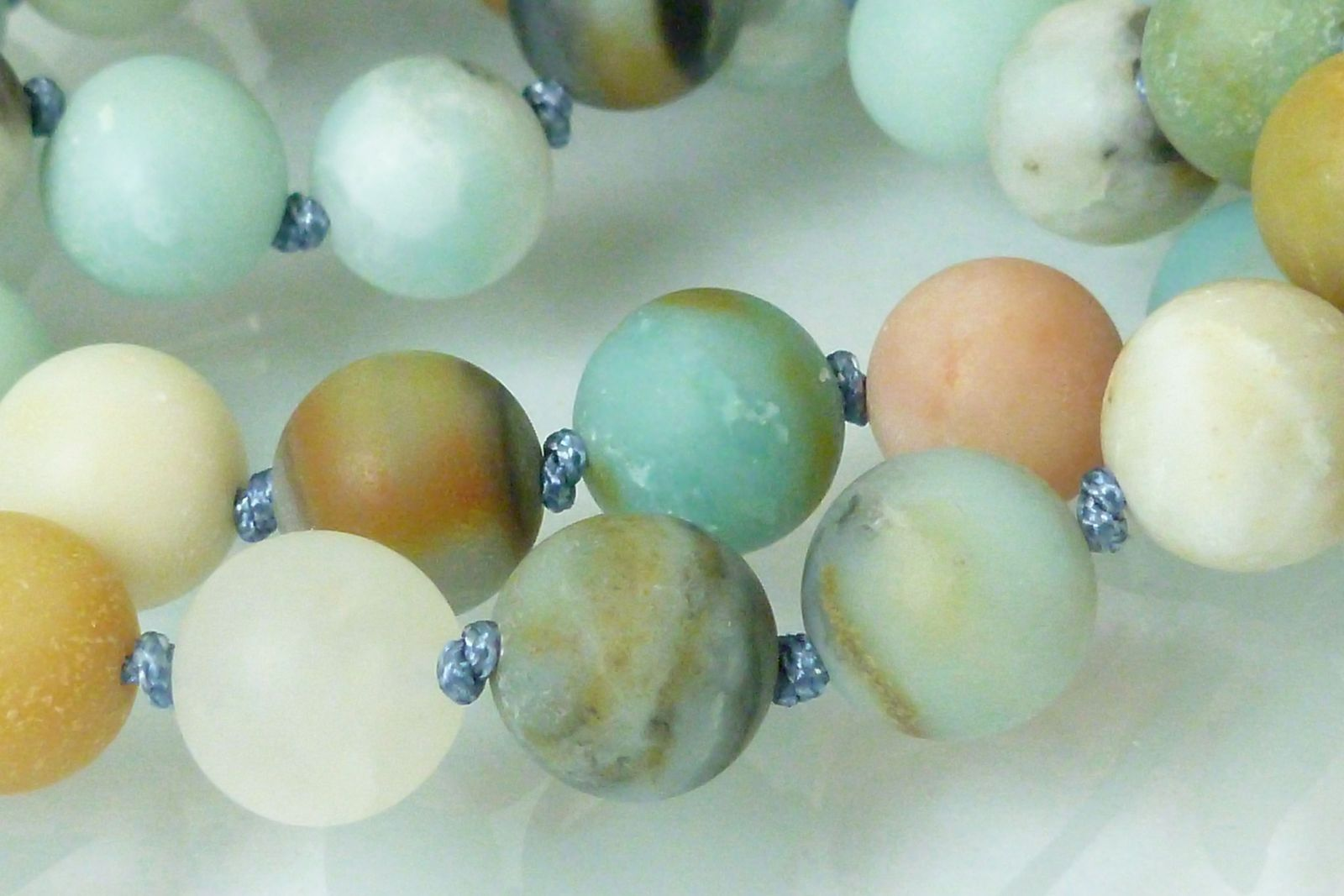 Black Gold Amazonite Beaded Round Necklace 20 inch Matte Finish Beads