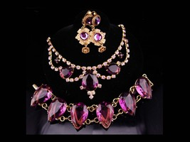 Vintage Purple statement bracelet / glass rhinestone necklace / amethyst color  - $320.00