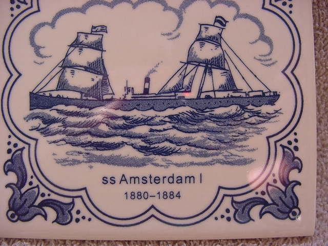 Holland America Line, two tiles, ss Amsterdam