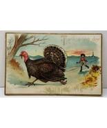 Thanksgiving Greeting Tuck Series 123 Man Chasing Turkey Postcard A1 - $3.95