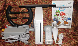 Nintendo Wii White GAME SYSTEM Console COMPLETE with Mario Kart and Whee... - $74.79