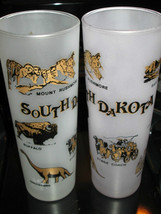 South Dakota State Souvenir Glass 2 Frosted Gold Rushmore Dinosaurs Corn... - $10.00