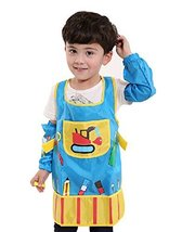 Waterproof Baby Bib Overclothes Painting Smock Apron & Sleeves A, 3-10 Years