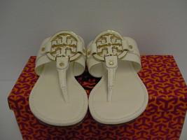 Women's tory burch slippers amanda flat thong tumbled leather bleach size 8.5 - $197.95