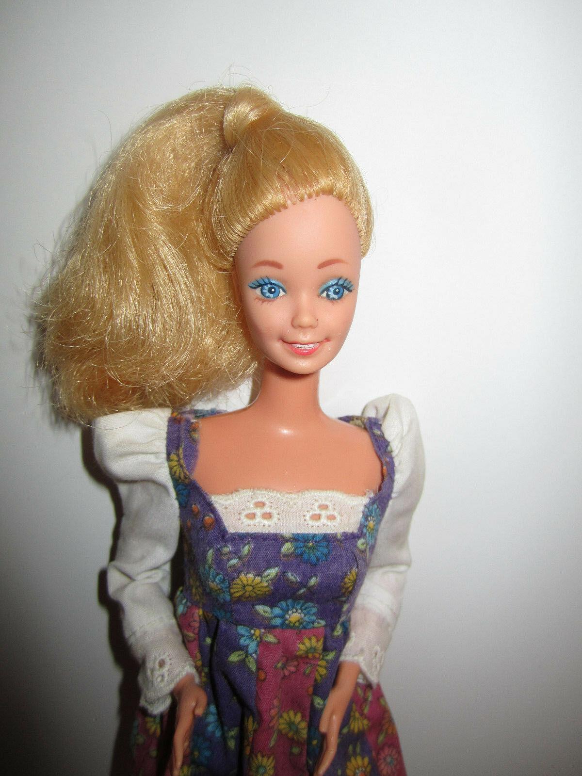 Blonde Barbie Doll in vintage Red Purple Flowered Minidress image 2