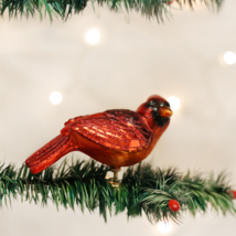 OLD WORLD CHRISTMAS RESTING CARDINAL BIRD GLASS CLIP-ON CHRISTMAS ORNAME... - $14.88