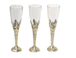 "12 Clear Plastic gold Bottom Champagne Flutes 8"" tall drinking glasses 4 oz - £6.77 GBP"