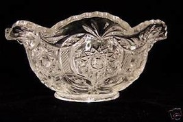 Crystal Pressed Fancy Glass Imperial Bowl Dish Fan Edge - $19.79