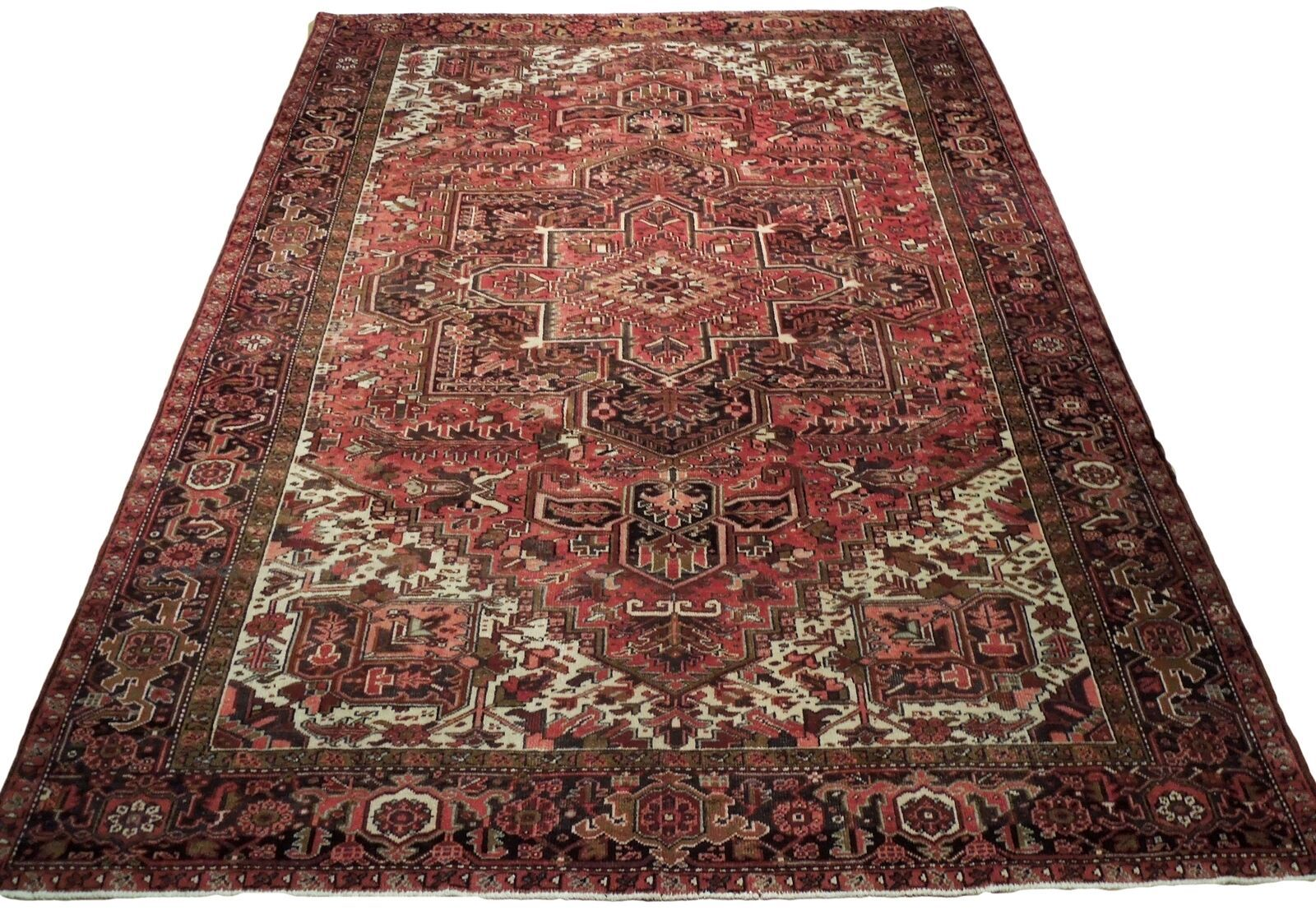 Large Centerpiece Medallion Persian Handmade 9 x 13 Pink Heriz Wool Rug