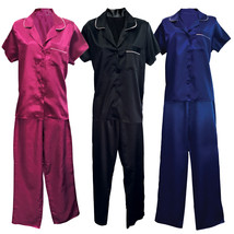 Womens Vintage Satin Short Sleeve Sleepwear Shirt and Pants Bottoms Pajamas Set - $19.25