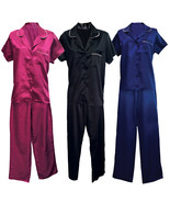 Womens Vintage Satin Short Sleeve Sleepwear Shirt and Pants Bottoms Paja... - $19.25