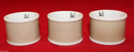Fitz and Floyd Set of 3 Porcelain Rondelet Taupe Beige White Napkin Rings Japan - $28.44