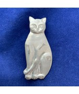 Silver Tone Cat Brooch Seagull Pewter Sitting Kitty Pin Jewelry - $20.57