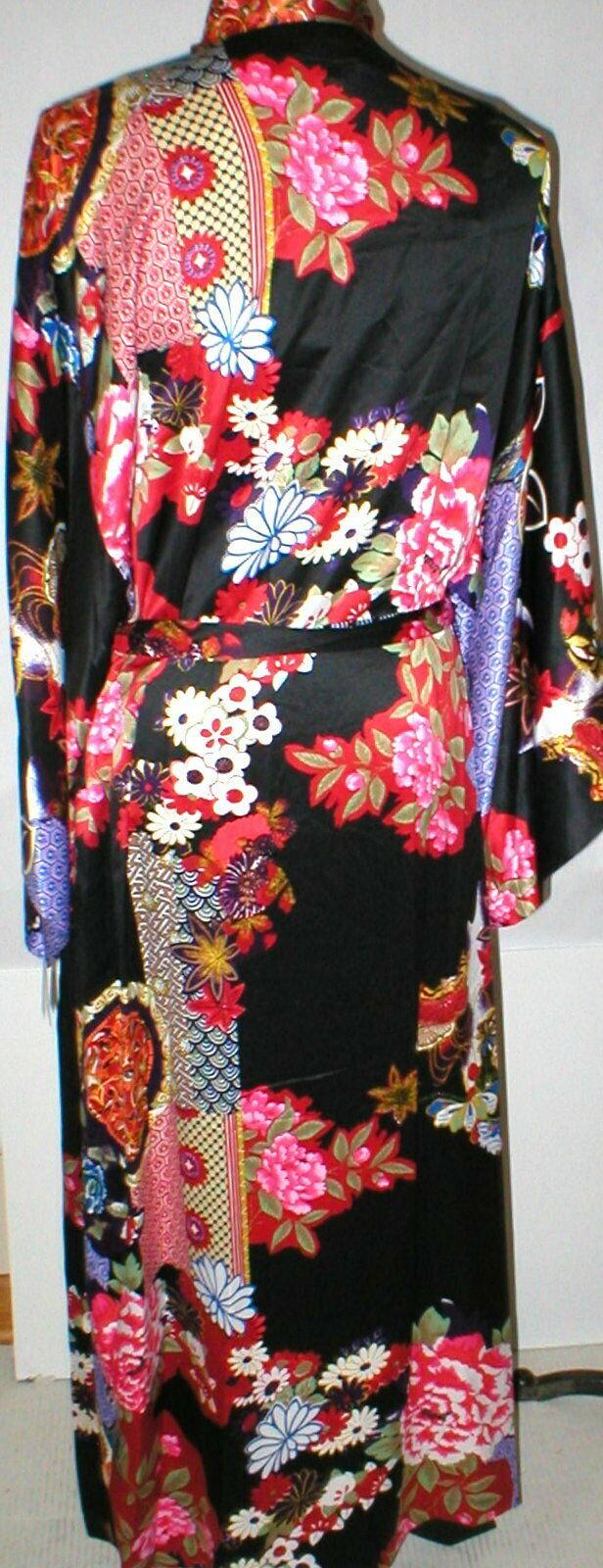 NWT New Designer Natori Wrap Robe Womens S Silky Satin Flowers Blue Red White image 9
