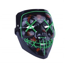 Light Up LED Mask Halloween Scary Ma color GREEN size  - $18.50