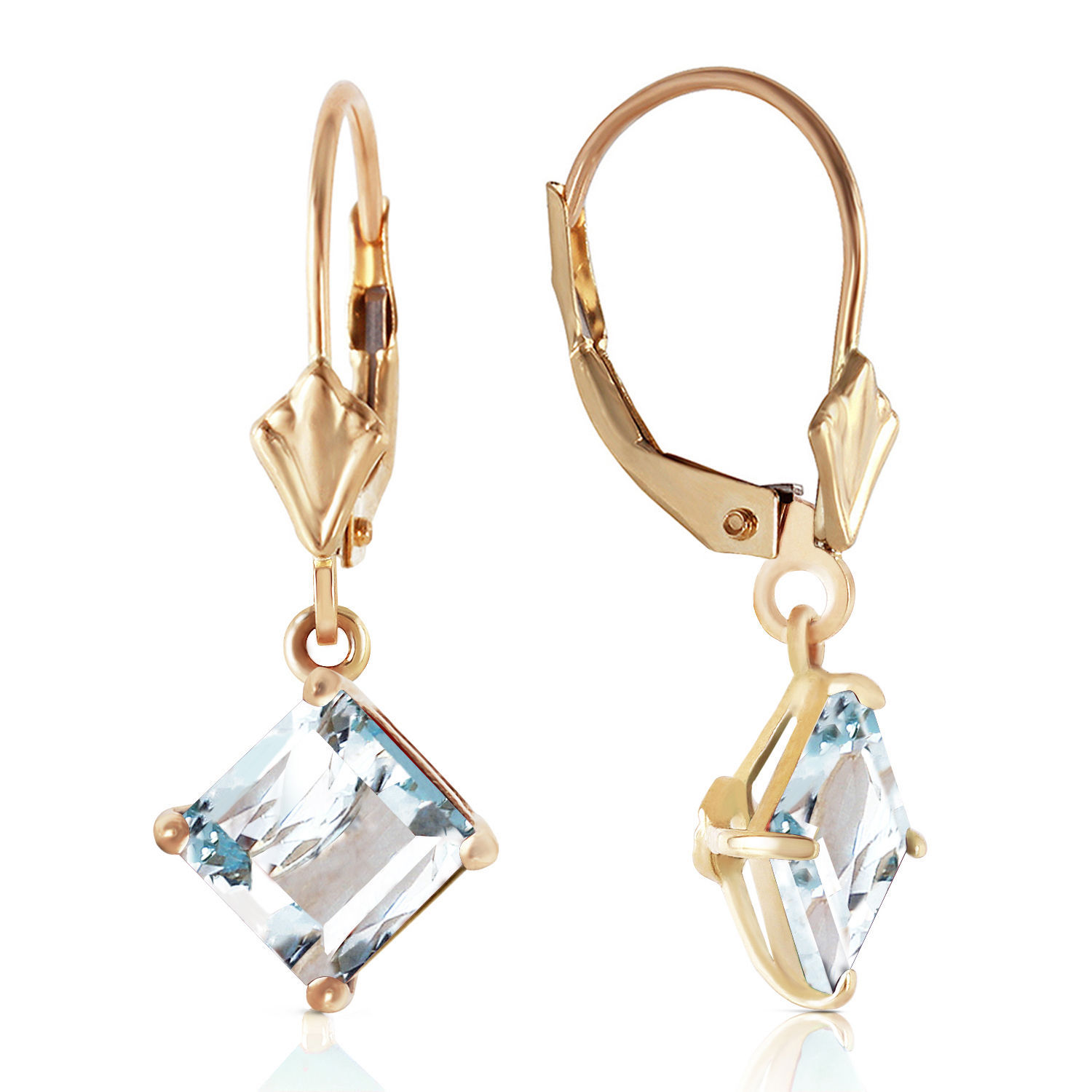 Primary image for 3.2 Carat 14K Solid Gold Excellence Aquamarine Earrings