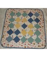 Baseball themed patchwork quilt mat 29 x 29 lap new blue yellow ball bat... - $35.00