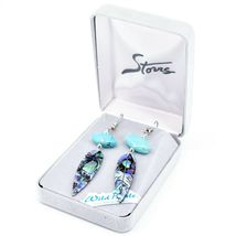 A.T. Storrs Wilde Pearle Abalone Shell & Turqouise Feather Hook Earrings image 3