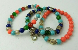 Lot Of 3 Vintage Costume Jewelry Stretch Bracelet Round Colored Beads Ch... - $28.00