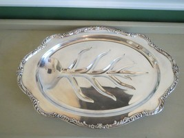"""Vintage Large 19"""" Footed Meat Poultry Serving Tray Dish Silver Wm Rodger... - $14.36"""