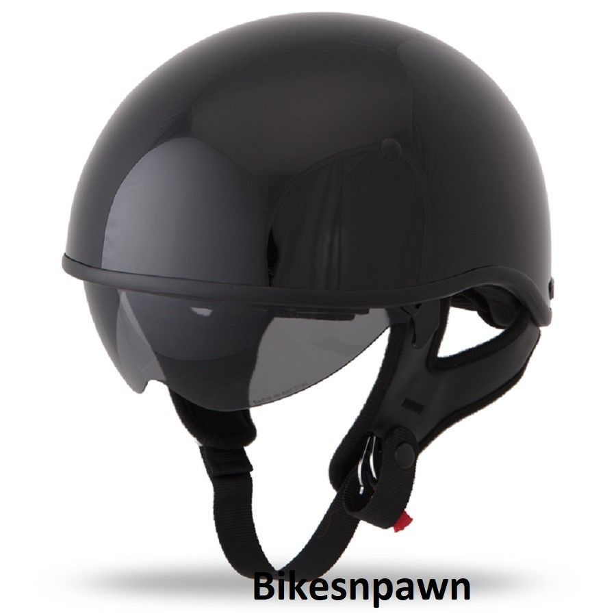 New L Gloss Black Fly Racing DOT Approved .357 Motorcycle Half Helmet