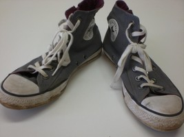 Womens Converse Gray Canvas Chuck Taylor Zip Up Hi Top Shoes Sz 8 - $32.79