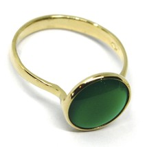 SOLID 18K YELLOW GOLD RING, CABOCHON CENTRAL GREEN CHALCEDONY, DIAMETER 10mm image 2