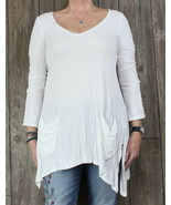 Ella Moss L size Tunic Top White Stretch Womens Blouse Work Casual Pocke... - $22.77